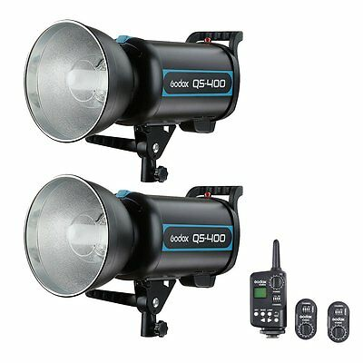 2X Godox QS400 400Ws Studio Flash Strobe Light  + FT-16 Wireless Trigger Kit