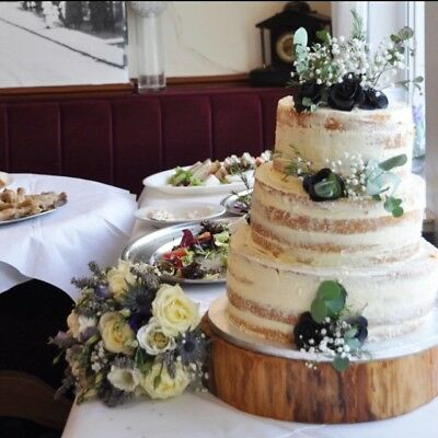 "16"" (40cm) Rustic Log slice, Wooden Wedding cake stand without bark, centerpiece"