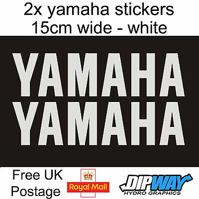 2x White YAMAHA Stickers - R1 R6 Yzf Decal Logo Fazer R125 Aerox 50 Moped Bike