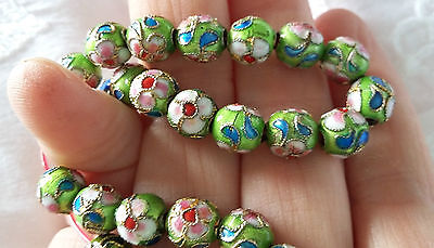 Green Cloisonne 8Mm Loose Beads