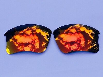 Engraved Polarized Fire Red Mirrored Replacement Oakley Flak Jacket Xlj  Lenses