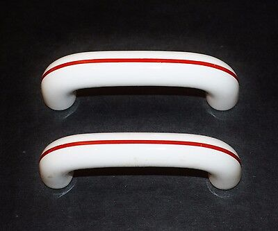 Lot 2 Vintage Drawer Cabinet Pull ART DECO RETRO White Ceramic Red Stripe  K7