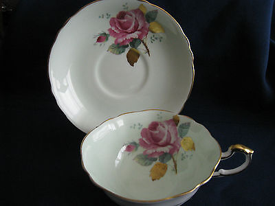 Paragon Stunning  Pink Cabbage Rose Wide Green Tea Cup & Saucer Gold Leaves