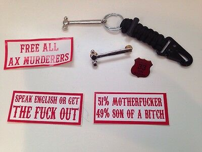 RARE Hells Angels Support 81 Pin Keychain And Stickers