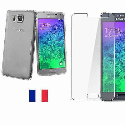 Housse COQUE TPU SILICONE/ VERRE TREMPE film protection Samsung Galaxy ALPHA