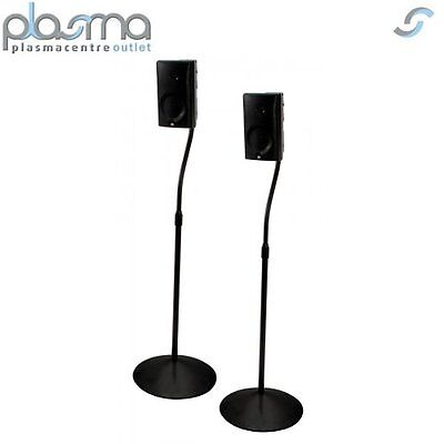 Pair of Black Speaker Stands with Metal Base