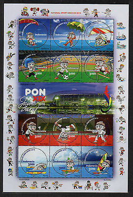 Indonesia 2016-5 National Sport Week Pon Xix Ms Mini Sheet Round Stamps