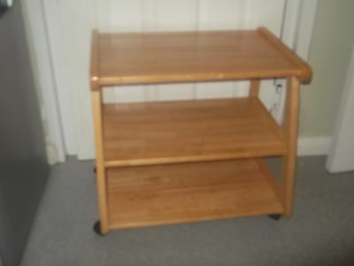 Small Beech Shelved Table On Castors . COLLECTION ONLY.