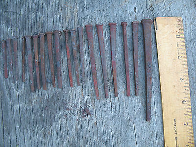 Antique Square Nails Collection of 18 Old Rusty Carpenter Construction Nail