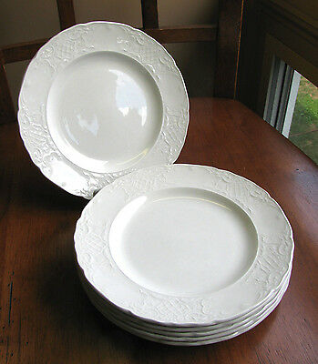 "LOT 6 Johnson Brothers Richmond Bread Plates Emboss White Trellis 7"" EXC England"