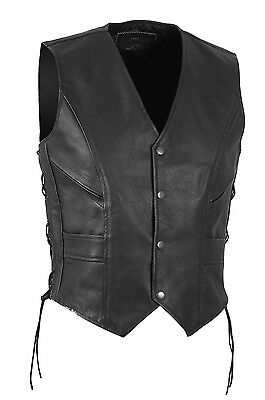 LEDERWESTE KUTTE MOTORRAD BIKER Vest CHOPPER ROCKER CLUB Gr SX - 4XL LEDER WEST