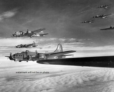 """Boeing B-17G Flying Fortress Bombers on way to Germany 8""""x 10"""" WWII Photo 378"""