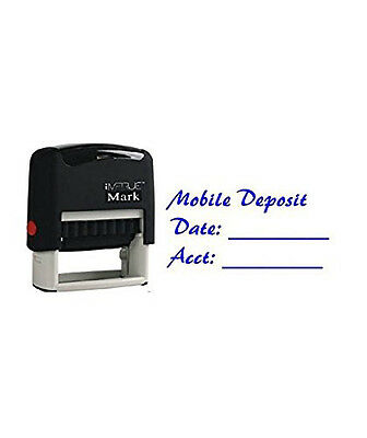 Mobile Deposit - with Date and Acct. Blue Self Ink Stock Stamp 14mm x 38mm