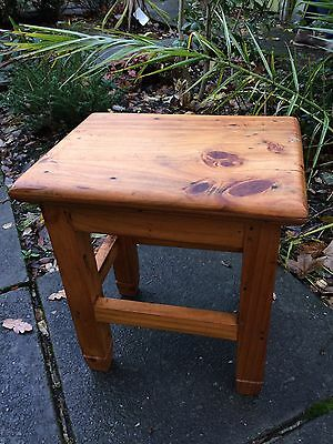 Vintage Rustic Old Farmhouse Pine Wooden stool Seat