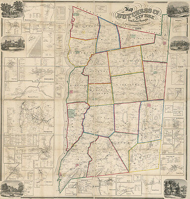 1858 Map of Dutchess County NY from actual surveys Poughkeepsie