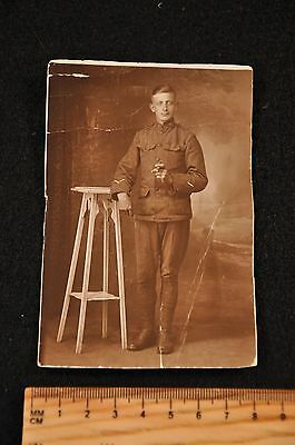 Wwi Us Army Photograph / Card 3X5 'enlisted Man Smoking Cigar French Studio Pic'
