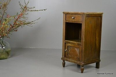 Antique French Chestnut Marble Top Bedside Cabinet