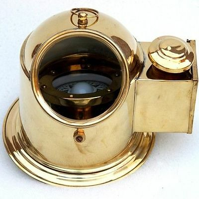 Solid Brass Working Ship Binnacle Compass With Oil Lamp Boat Helmet Compass Xmas