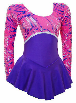 Skating Dress - Pink Multi Hologram/Purple Lycra Canberra (S095b)