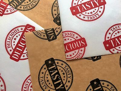 Superior Printed Greaseproof Paper Sheets Fast Food Take Away Wrap - Red & Brown