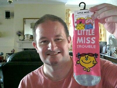 Little Miss Trouble Girl's Ankle Socks Uk Size 4-8 Great Xmas Gift Free Uk Post