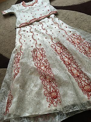 BARGAIN BARGAIN BARGAIN.. Silvery/white And Red FishTail Lengha