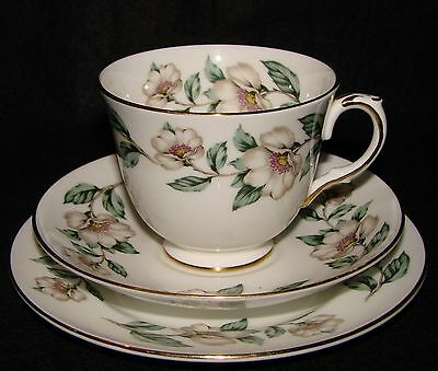 Vintage Crown Staffordshire Bone China Floral Trio (Cup, Saucer, Plate) VGC