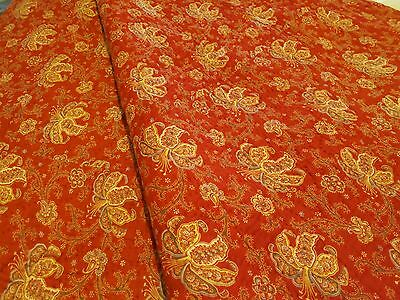 Antique Rare Red Paisley 2-sided Welsh Cotton Quilt with Wool inner