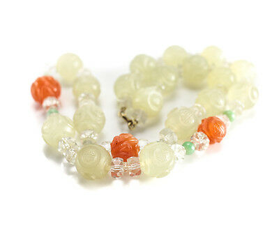 14k Yellow Gold Chinese Jade Jadeite, Crystal Agate Hand carved Beaded Necklace