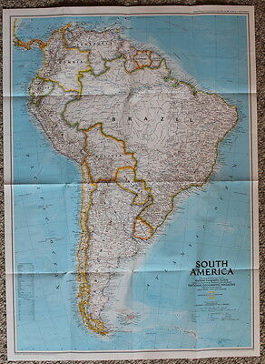 South America / Amazonia  National Geographic Map Poster Aug 1992