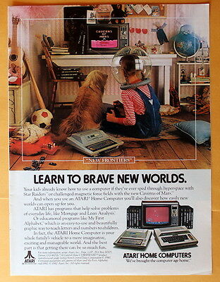 Magazine Print Ad 1982 Atari ---- Learn To Brave New Worlds