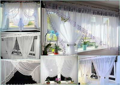 (F3) Beautiful White Voile Net Curtain