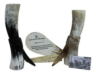 Game of Thrones Large Natural Viking Usable Drinking Oxhorn Horn & Stand