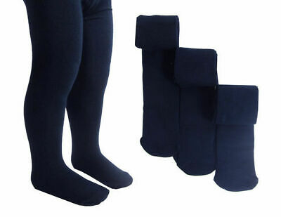 3 pack Soft Cotton Tights Navy Black White Cream School age 4-14 reinforced