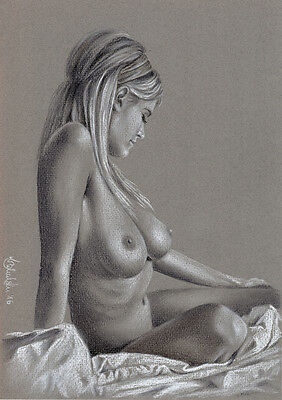 NUDE EROTIC FEMALE STUDY  A4 PRINT of the original pastel drawing