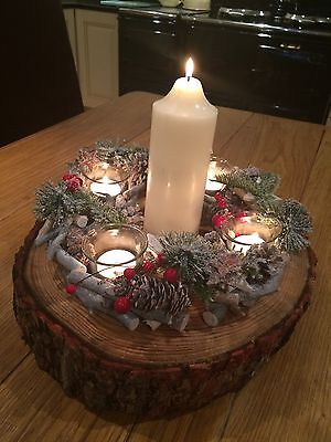 "Christmas table Centre Piece decoration Wreath & Real 14""rustic log"