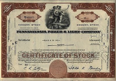 Pennsylvania Power & Light Company Stock Certificate PPL Allentown Brown