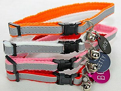 Gloss Reflective Cat Collar with safety Snap Away with Pet Engraved ID Tag