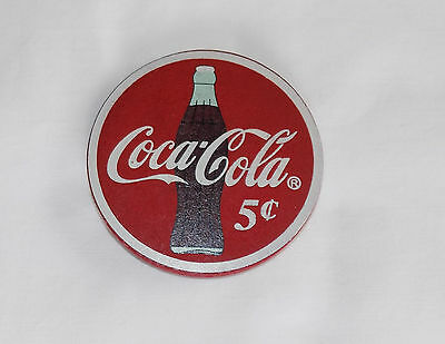 """New Coca Cola Company Coke Bottle 5 Cents Wood Refrigerator Magnet 3 1/4"""" Tall"""