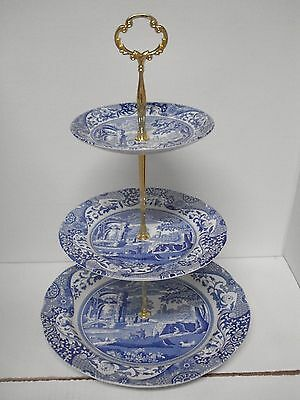 Spode, Made in England, Blue Italian Camilla Three Tier Serving Piece