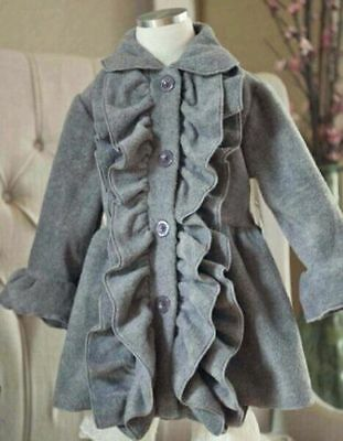 Adorable Mack and Co Ruffle Front Coat, grey or purple, girls size 5 or 6 years