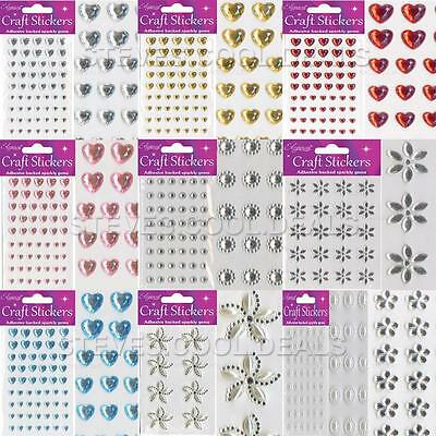 STICKERS CRAFT PEARL DIAMOND HEARTS FLOWER SPARKLY GEM CARD MAKING Self Adhesive