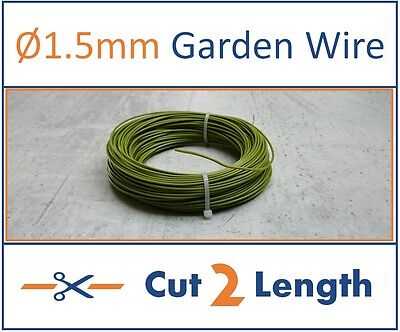 1.5mm All Purpose Garden Wire - Green Plastic Coated - cut to length - 2 to 30m