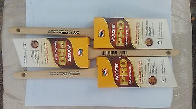 "(3)  Wooster Pro 2"" Angle Sash paint or stain brushes lot of ( 3)"