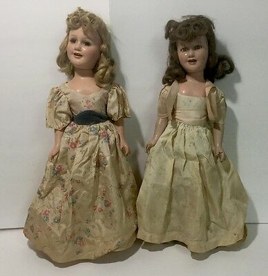 "Pair of Vintage 21"" IDEAL COMPOSITION 1938 DEANNA DURBIN DOLL - Original Clothes"