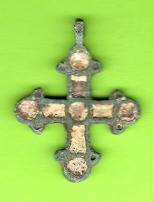 Russia Kiev type Bronze Enamel Cross Pendant Viking time 10-12th 850