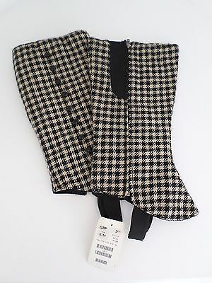 BNWT H&M Vintage womens gaiters boots dogtooth SIZE S/M