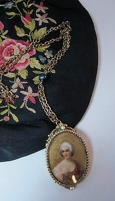 "Vintage Robert hand painted portrait brooch/pin pendant necklace 20"" 1/2"