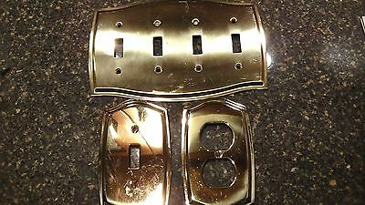 Vintage Brass Switchplates -1 Dual Outlet, 1 Single Switch, 1 Triple Switchplate