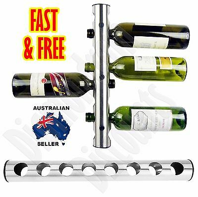 Stainless Steel Wine Rack Holder Wall Mount 8 Bottle Kitchen Bar Stand Xmas Gift